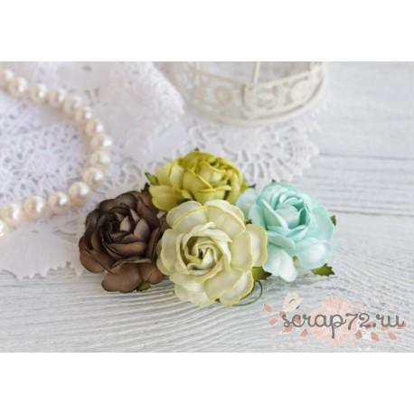Букетик чайных роз, оттенки зеленого, 4см, 4шт