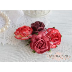 Букетик чайных роз, оттенки красного, 4см, 4шт