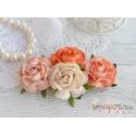 Букетик чайных роз, оранжево-персиковый микс, 4см, 4шт