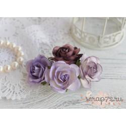 Букетик розочек Шпалера, пурпурно-лиловые оттенки, 4цветка