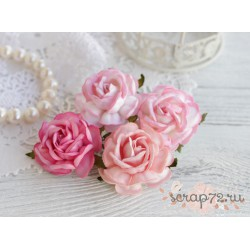 Букетик чайных роз, цвет розовый, 4см, 4шт