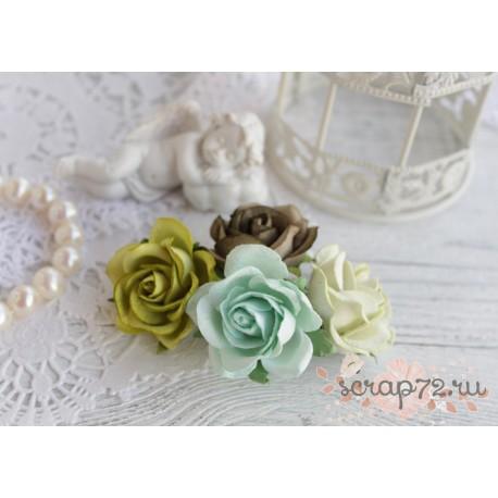 Букетик розочек Шпалера, оттенки зеленого, 4цветка