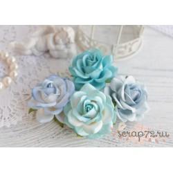 Букетик розочек Шпалера, голубые тона, 4цветка