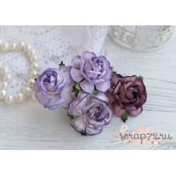 Букетик чайных роз, цвет лиловый, 4см, 4шт