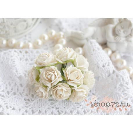 Роза, цвет белый, 15мм, 1 цветок