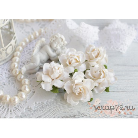 Коттеджная роза, цвет белый, 30мм, 1 розочка