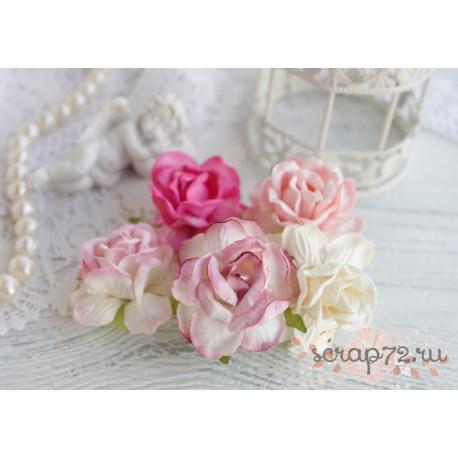 Букетик диких роз, цвет нежно-розовый, 4см, 5шт