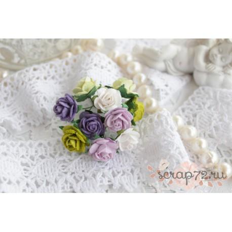 Букетик роз Мальбери, цвет оттенки фиолетового и зеленого, 15мм, 10 цветочков