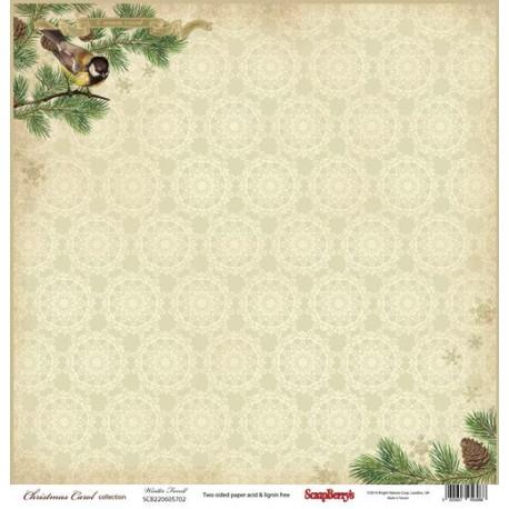 Бумага для скрапбукинга 30,5х30,5 см 180 гр/м двусторон Ночь перед Рождеством Зимний Лес, 1 лист