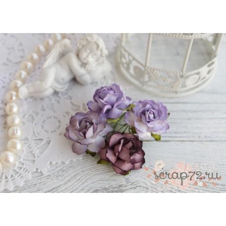 Букетик коттеджных роз, оттенки фиолетового, 4 розочки разного цвета