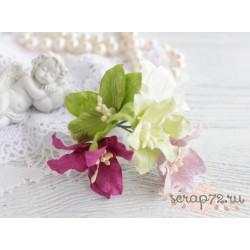 Букетик лилий, оттенки фиолетового и зеленого, 5см, 5шт.