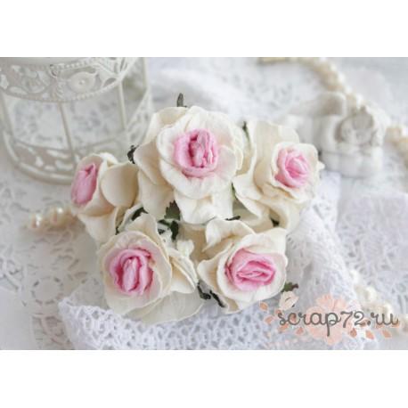 Кудрявая роза, цвет белый с розовой серединкой, 5см, 1шт