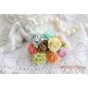 Букетик роз, цвет пастельный микс, 15мм, 10 цветочков