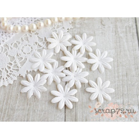 Цветочек плоский, белый, 3см, 10шт