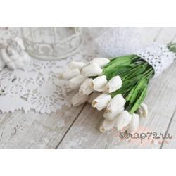 Тюльпан, 12мм, цвет белый, 1шт.