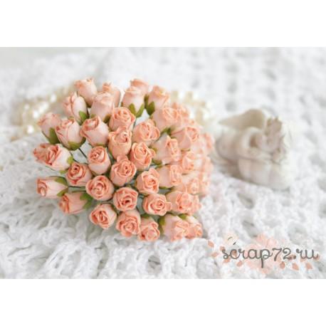 Роза кудрявая в бутонах, 8-10мм, цвет персиковый, 1шт.