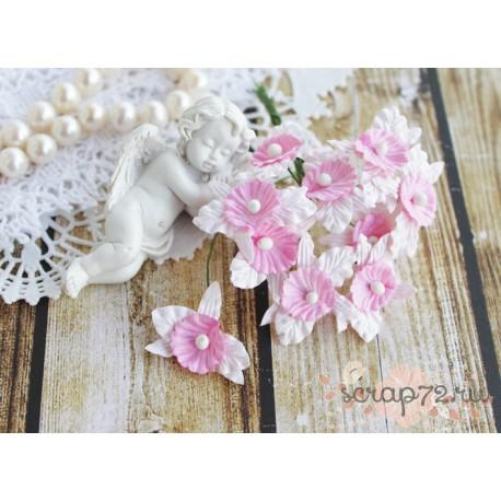 Орхидея, цвет белый с розовым лепестком, 3 см, 1шт.