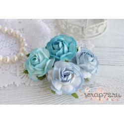 Букетик чайных роз, цвет голубой, 4см, 4шт