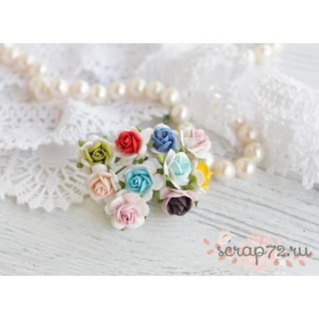 Букетик роз Мальбери, цвет Яркий микс, 10 цветочков