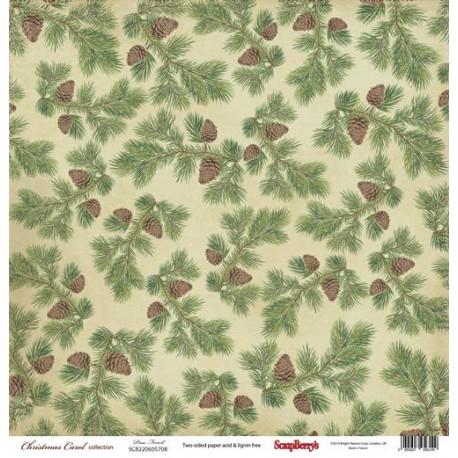 Бумага для скрапбукинга 30,5х30,5 см 180 гр/м двусторон Ночь перед Рождеством Сосновый Бор, 1 лист