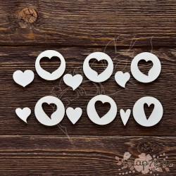 Набор сердечек №3 (сердечко 2 см, круг 3,5 см, набор 7,5х11 см), CB243