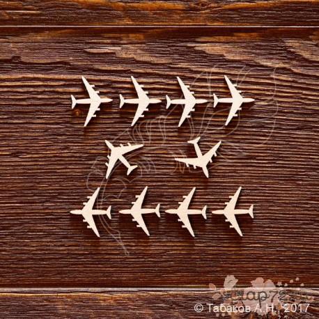 Набор самолётики 10 элементов (2х1,6см), CB712