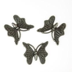 Металлическое украшение, Бабочка, состаренное серебро, 1 шт