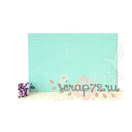 Коврик для резки, двусторонний, цвет голубой, А3 (45*30см)