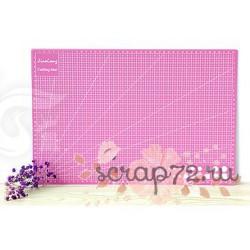 Коврик для резки, двусторонний, цвет розовый, А3 (45*30см)