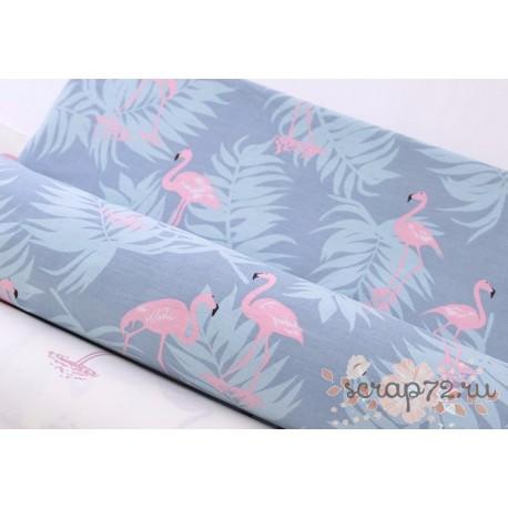 Хлопок Розовый фламинго на серо-голубом, 58*50см