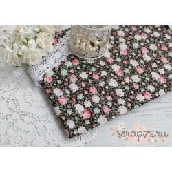 Хлопок Нежно розовые и голубые розы на шоколадном, 45*50см