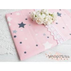 Хлопок Серые звезды на розовом, 53*50см