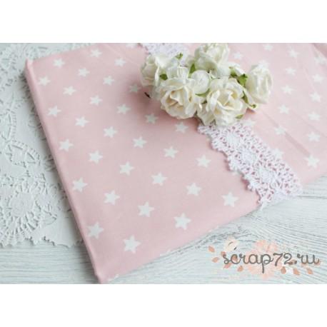 Хлопок Белые звездочки на розовом, 53*50см