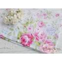 Хлопок Розовые пионы на белом, 53*50см