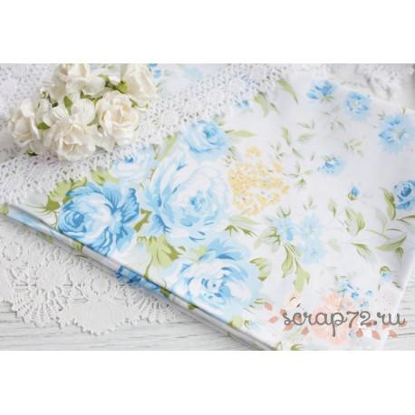 Хлопок Голубые пионы на белом, 53*50см