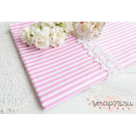 Хлопок Розовая полоска на белом, 53*50см