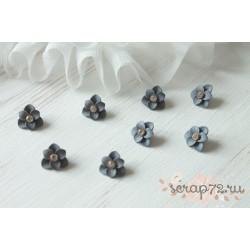 Декоративный цветок, цвет серо-голубой матовый, 17мм, 1шт