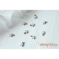 Подвеска металлическая Звездочка, цвет эмали голубой, 8*6мм, 1шт.