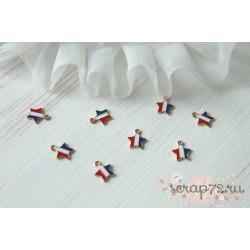 Подвеска металлическая Звезда трехцветная, цвет эмали красный, белый, синий, 14*11мм, 1шт.