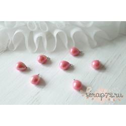 Подвеска Жемчужная капелька, цвет розовый, 17*10мм, 1шт.