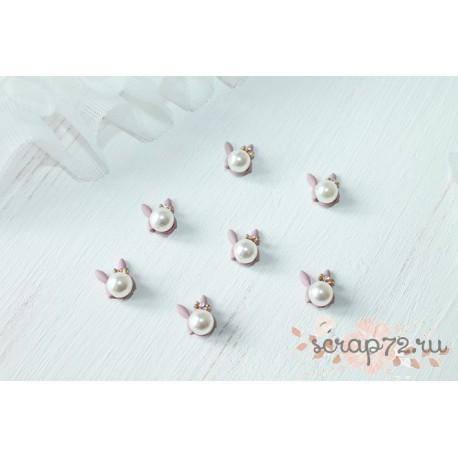 Подвеска матовая Жемчужина с ушками, цвет серо-розовый, 16*9мм, 1шт.