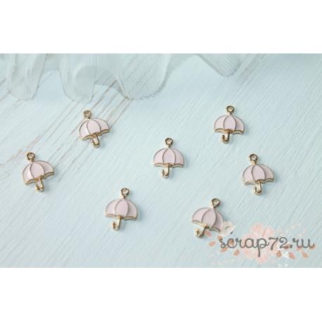 Подвеска металлическая Зонтик, цвет эмали розовый, 16*12мм, 1шт.