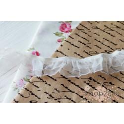 Кружево декоративное на резинке, 2.5 см, цвет белый, 1м