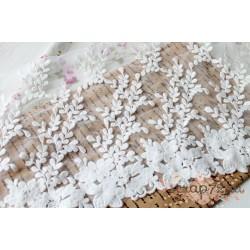 Кружево декоративное на сетке, 24 см, цвет белый, 90см