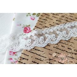 Кружево декоративное на сетке, 4 см, цвет белый, 90см