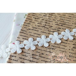 Кружево декоративное, хлопок, 3.4 см, цвет белый, 90см