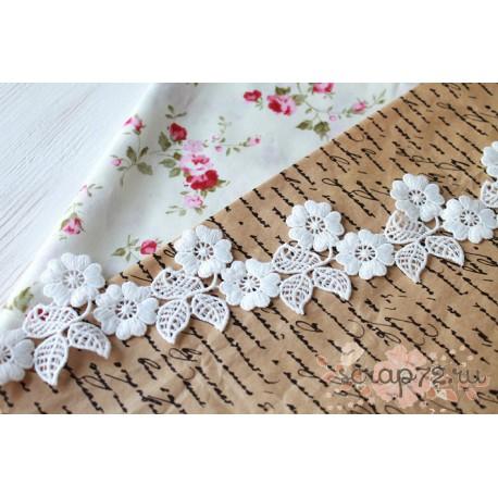 Кружево декоративное, хлопок, 5.5 см, цвет белый, 90см