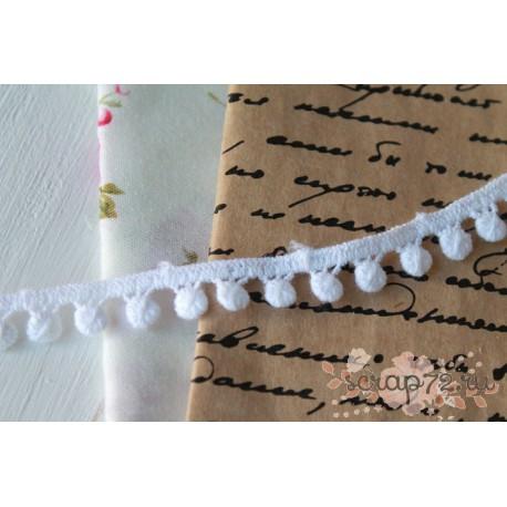 Тесьма с помпонами, хлопок, 1 см, цвет белый, 1 м