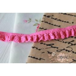 Тесьма кружевная на резинке, хлопок, 1.2 см, цвет розовый, 1 м