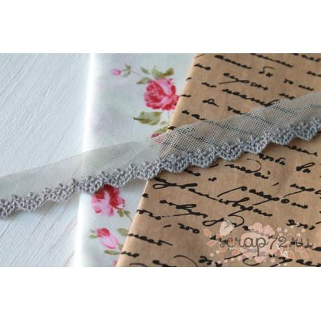 Кружево декоративное на сетке, 2 см, цвет серый, 1м